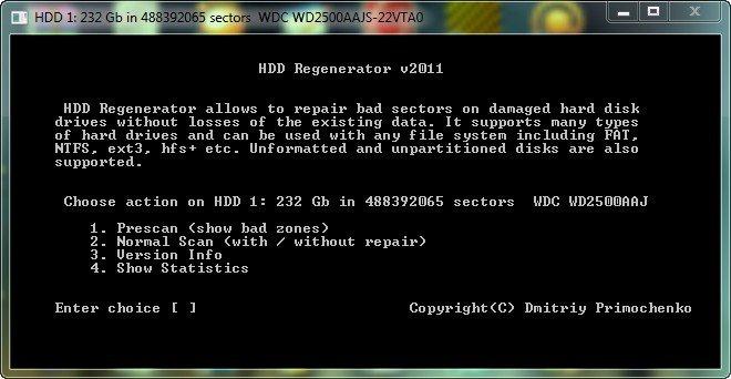 запуск hdd-регенератора